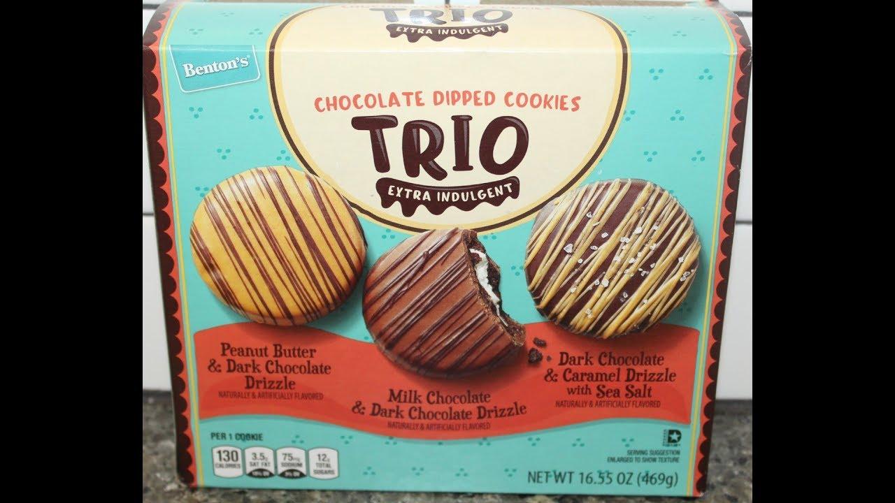 Bentons Aldi Chocolate Dipped Cookies Trio Peanut Butter Milk Chocolate Caramel With Sea Salt