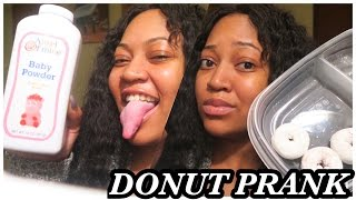 BABY POWDERED DONUT PRANK ON MY SON AND GIRLFRIEND