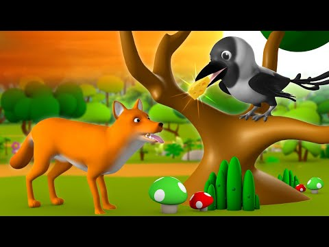 The Fox & Crow 3D Animated Hindi Stories for Kids Moral Stories लोमड़ी और कौवा हिन्दी कहानी Tales
