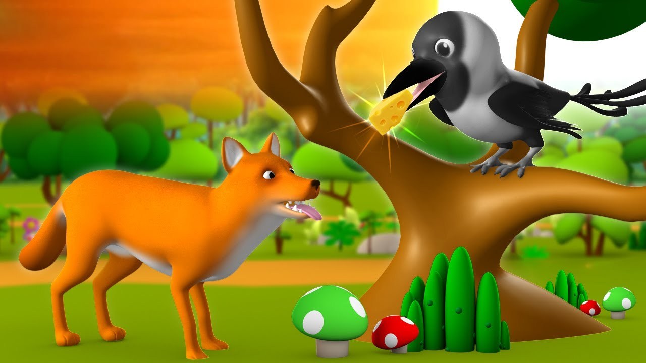 Download The Fox & Crow 3D Animated Hindi Stories for Kids Moral Stories लोमड़ी और कौवा हिन्दी कहानी Tales