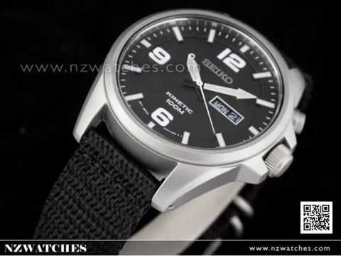 46641a65d69 Seiko Kinetic Nylon Strap Mens Watch SMY143P1 - YouTube