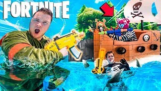 Real Life FORTNITE NERF Floating Box Fort Battle On WATER!