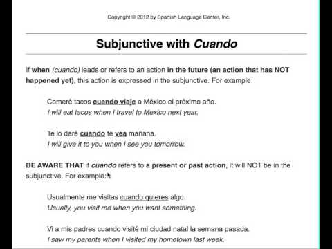 Spanish Lesson Subjunctive With Cuando Youtube