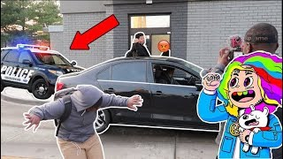 BLASTING 6IX9INE IN THE DRIVE THRU! (C0PS CALLED)