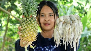 Awesome Cooking Octopus With Pineapple Dilecious Cook Recipe - Yummy Eating Show No Talking