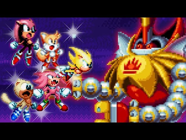 Sonic Mania PLUS - Super Sonic, Tails, Knuckles, Mighty & Ray Vs Final Boss DR Eggman & Phantom King