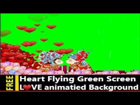 Flying Hearts Green Screen Background Overlay Effects