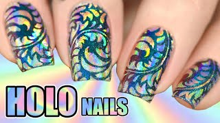 💿HOLOGRAPHIC POWDER NAIL ART ➕Nail Stamping With Pigment Powder (2020)