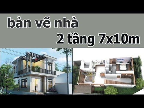 bản vẽ nhà 2 tầng 7x10m