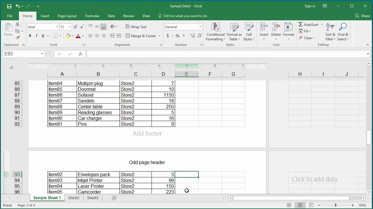 How to Add Headers and Footers to a Worksheet in Excel 2016
