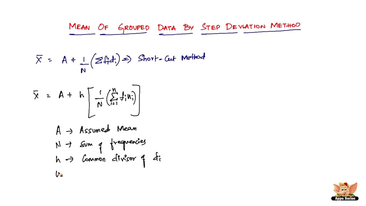 How To Find Mean Of Grouped Data By Step Deviation Method?