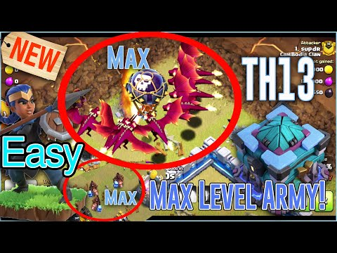 WOW Max Troops TH13!! Max Armies TH13 Destroy TH12 - Too Easy Attack CWL ( Clash Of Clans )