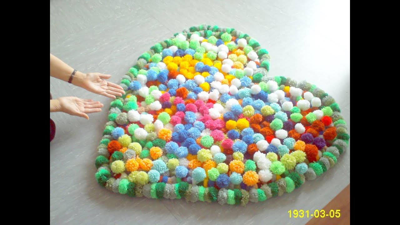 ♥DIY♥ Bobble Pompom Carpet Bommel Teppich Alfombra Tape