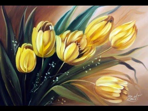 Como pintar tulipas youtube for Peinture sur bois