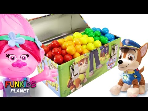 Learning Videos for Children: Paw Patrol Skye & Chase Treasure Hunt Searching for Surprise Toy Chest