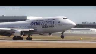 Qantas oneworld 747 landing at YVR Vancouver Airport
