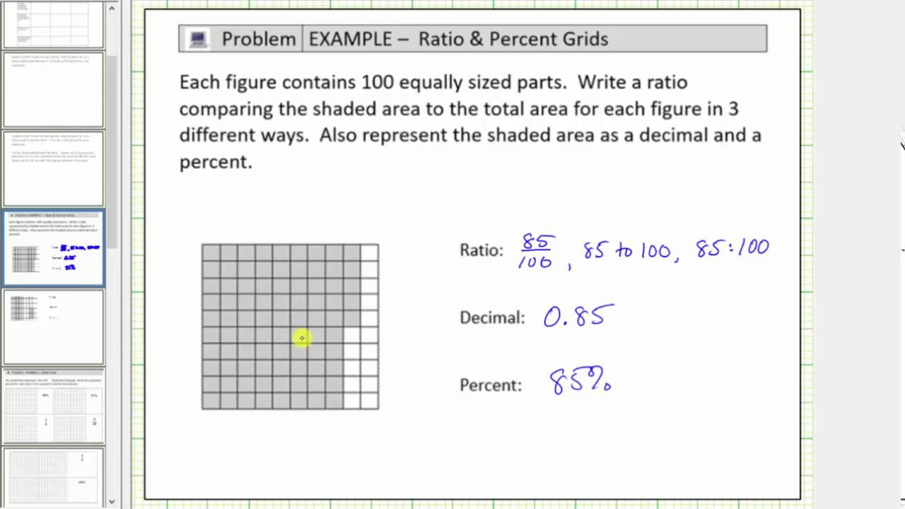 use a shaded  by  grid to write a ratio decimal and percent  use a shaded  by  grid to write a ratio decimal and percent