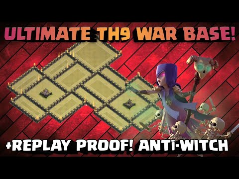 ULTIMATE TH9 WAR BASE | ANTi-WITCH SLAP, AQwalk! NEW TH9 BASE WITH REPLAY PROOF | 2018