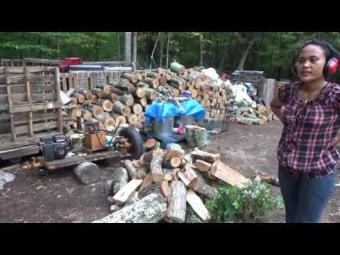 Melanie Using The Log Splitter & Canning Garden Harvest