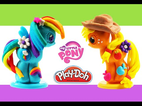 Play Doh My Little Pony Make 'N Style Ponies, New MLP playset Rainbow dash, Applejack 2015 playdoh