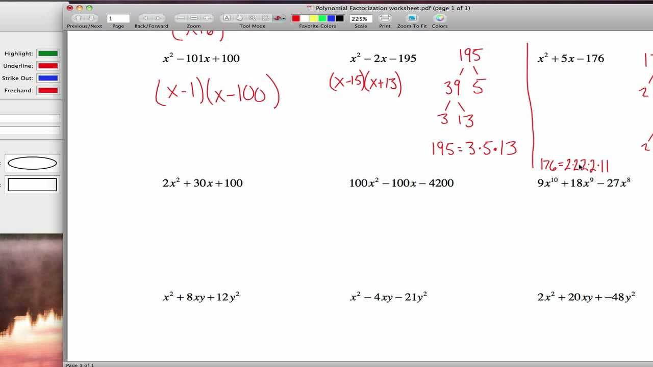 Polynomial Factorization worksheet YouTube – Factorization Worksheets