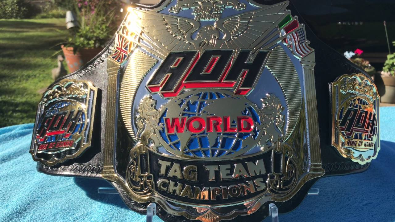 Real ROH World Tag Team Championship Belt - YouTube