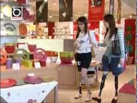 Two Amputee Girls Shopping