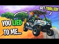 I drove my teammates off the Fortnite map using golf carts... (I LIED TO THEM!)