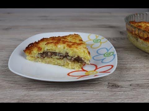 Запеканка из тертого картофеля с сыром и фаршем