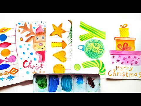 25 Christmas Cards and Wall Art Ideas – Watercolor Painting Compilation  \ DIY Winter Crafts