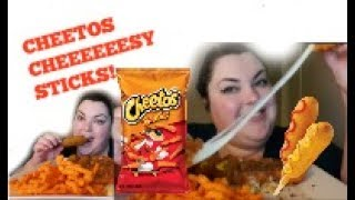 CHEETOS CHEESE STICKS AND CORN DOGS EAT WITH ME MUKBANG
