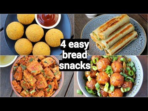 4 easy & quick bread snacks recipes | quick evening snacks with leftover bread