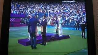 Maria Sharapova in the podium of the Olympic Games
