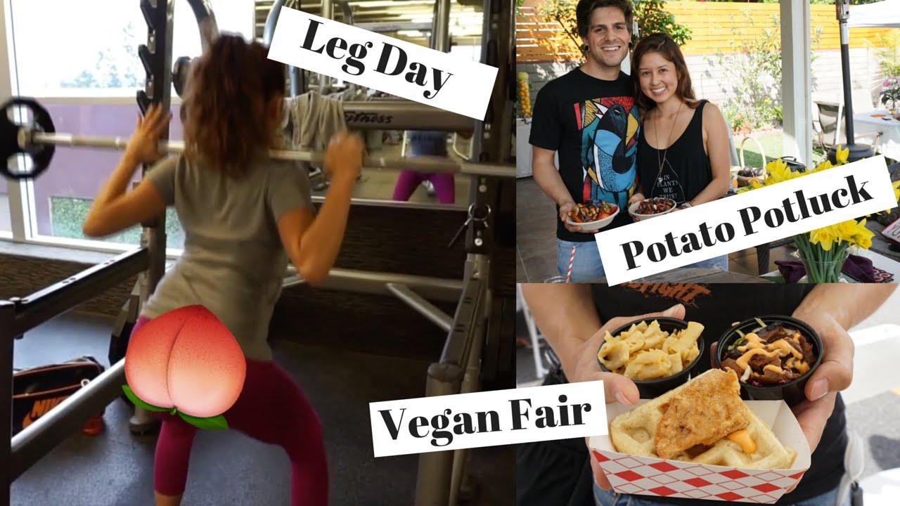 VLOG | Baked Potato Bar Potluck, Leg Day & Vegan Street Fair LA