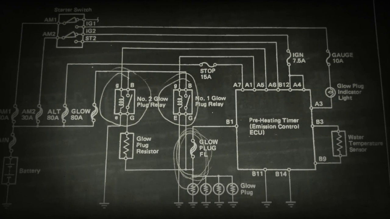Glow Plug Wiring Diagram 7 3 4 Way Ball Valve 1990 Surf 4runner 2.4lt Turbo Diesel 2l-t Circuit - Youtube