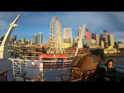 Seattle Waterfront Argosy Cruises and Space Needle at Night Hero 6 4K