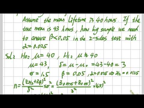 Statistics - Hypothesis tests & Type II error & Choice of Sample Size