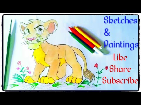 How To Draw Simba Lion From The Lion King Painting Tutorial In