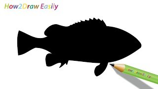 fish silhouette easy drawing draw step drawings steps