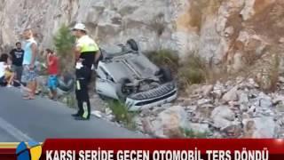 KARŞI ŞERİDE GEÇEN OTOMOBİL TERS DÖNDÜ