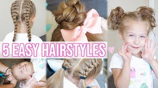 5 EASY HAIRSTYLES FOR LITTLE GIRLS!! | Back to School Hairstyles for Girls