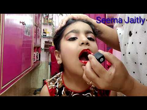 Baby girl school stage makeup!! In curly hair HighBun!! seema jaitly thumbnail