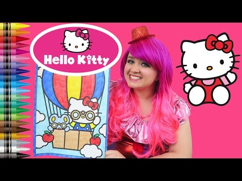 Coloring Hello Kitty Hot Air Balloon GIANT Coloring Book Page Crayola Crayons | KiMMi THE CLOWN