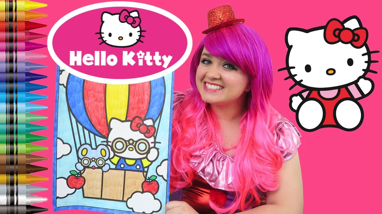 Coloring Hello Kitty Hot Air Balloon GIANT Book Page Crayola Crayons