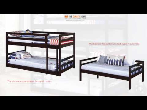 Cappuccino Triple Twin Bunk Bed with Stairs from Coaster