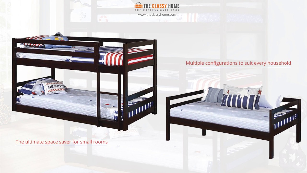 Cappuccino Triple Twin Bunk Bed With Stairs From Coaster Youtube