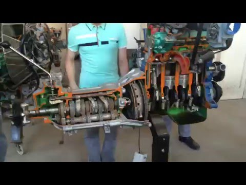 Section of 4 stroke diesel engine working on electrical motor