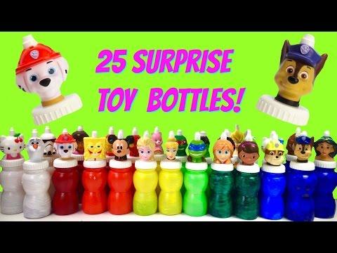 Huge 25 Toy Surprise Good2Grow Juice Bottles! Paw Patrol, Disney Princesses