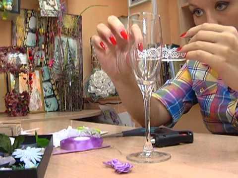 Школа дизайна №15   Свадебные бокалы в романтическом стиле 20 09 13