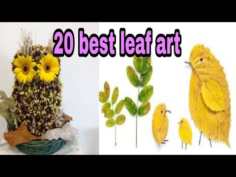 20 best leaf art || pictures of animals || drawing animals using leaves ||